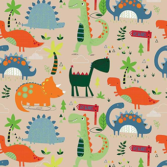 """Dinosaurs Main Tan Flannel F8217 - 35"""" Remnant"""