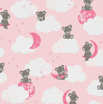 Sleep Tight Bears Pink Flannel F9960