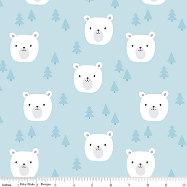 Baby Bear Faces Blue Flannel F9962