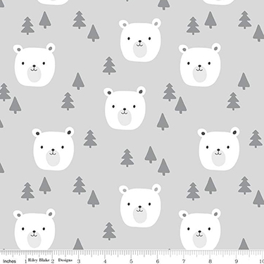 Baby Bear Faces Gray Flannel F9962