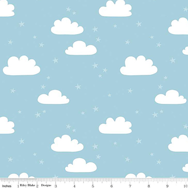 Baby Bear Clouds Blue Flannel F9963