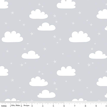 Baby Bear Clouds Gray Flannel F9963