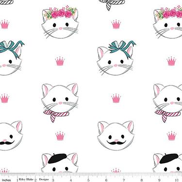 Chloe Cat Princess on White Flannel F9966