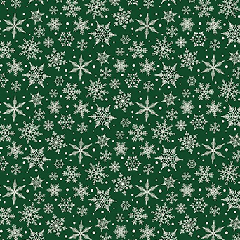 """Christmas Traditions Snowflake Green Flannel - 17"""" Remnant"""
