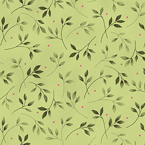 Wild Rose Leaves Green Flannel MASF7890-G