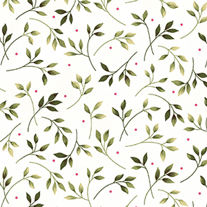 Wild Rose Leaves White Flannel MASF7890-W
