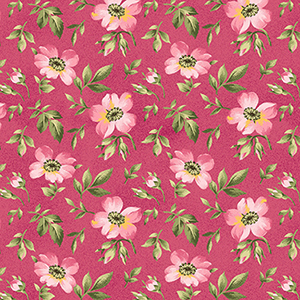 """Wild Rose Open Roses Pink Flannel - 30"""" Remnant"""