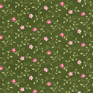 Wild Rose Little Buds Green Pink Flannel MASF7893-GP