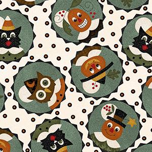 Happy Jacks Friends in Circles Cream Flannel MASF9401-E