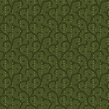 """Heritage Woolies Stitched Scroll Green Flannel - 27"""" Remnant"""