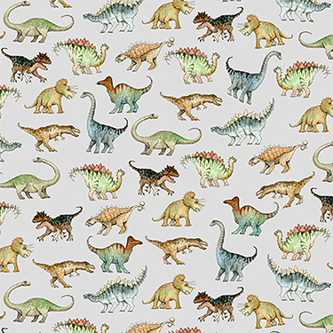 Comfy Realistic Dinosaurs Gray Flannel