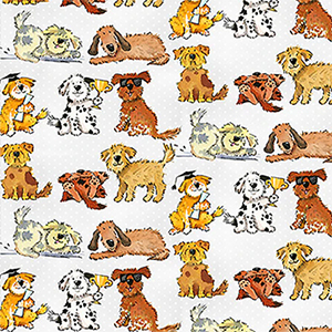 Comfy Silly Dogs on Polka Dots Flannel