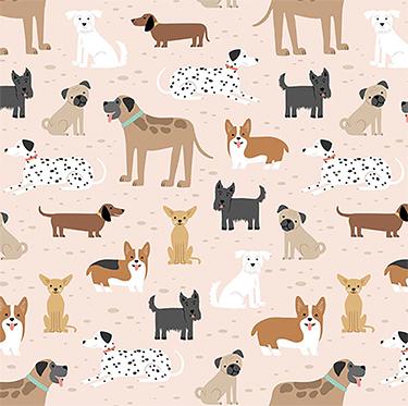 Comfy Dog Breeds on Tan Flannel