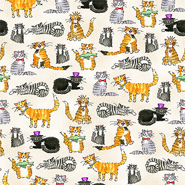 Comfy Silly Cats on Polka Dots Flannel