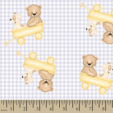Comfy Teddy Bear Puppy Wagon Ride on Gray Check Flannel