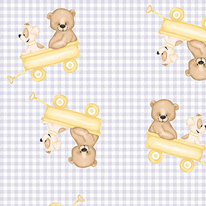 "Comfy Teddy Bear Puppy Wagon Ride on Gray Check Flannel - 24"" Remnant"