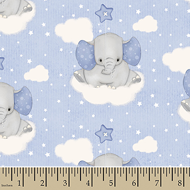 "Comfy Cutest Baby Elephant Cloud Flannel - 24"" Remnant"