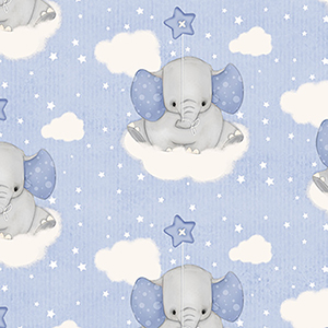 "Comfy Cutest Baby Elephant Cloud Flannel - 22"" Remnant"