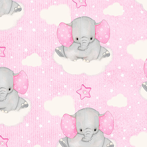 Comfy Cutest Baby Elephant Cloud Pink Flannel