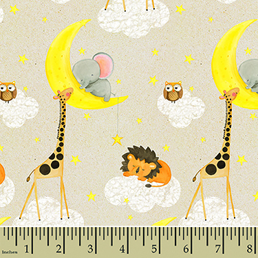 Comfy Sleepy Nursery Animals Moon Cloud Flannel