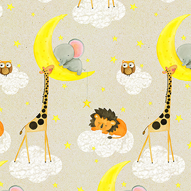 "Comfy Sleepy Nursery Animals Moon Cloud Flannel - 24"" Remnant"