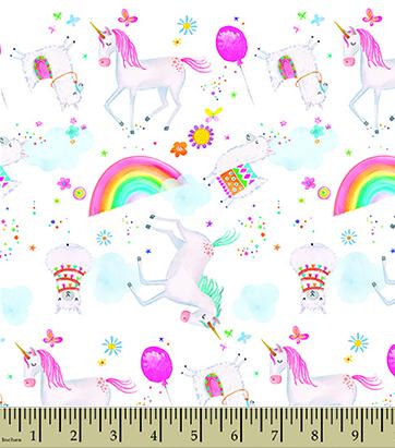 "Comfy Unicorn Alpaca Party Flannel - 22"" Remnant"