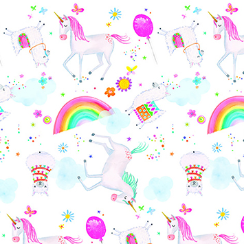 "Comfy Unicorn Alpaca Party Flannel - 22"" Remnant"