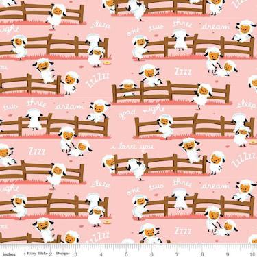 Harmony Farm Sheep Dream Pink Flannel F7141
