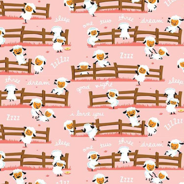 Harmony Farm Sheep Dream Pink Flannel F7141
