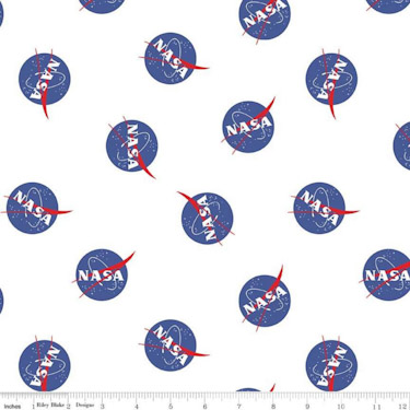 Out of this World with NASA Logo Toss White Flannel F8228