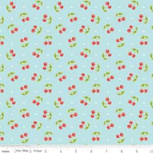 Glamper-licious Cherry Toss Aqua Flannel F7153