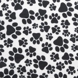 "Paw Print Toss Black Flannel - 31"" Remnant"