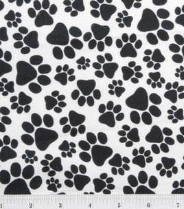 """Paw Print Toss Black Flannel - 31"""" Remnant"""