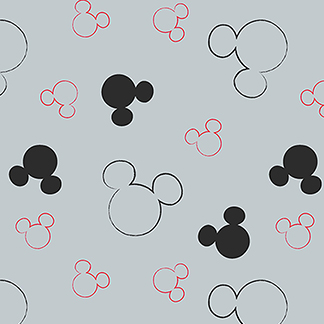 Mickey Mouse Silhouette Gray Flannel