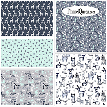 Fat Quarter Bundle - Poochie McGruff Flannel Coordinates
